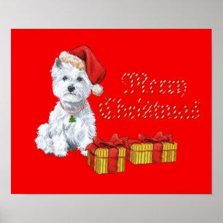 Regalos del navidad de Terrier blanco de montaña d Posters
