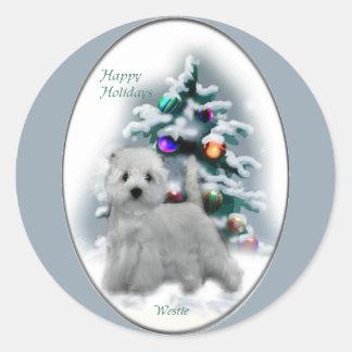 Regalos del navidad de Terrier blanco de montaña d Etiqueta Redonda