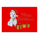 Regalos del navidad de Terrier blanco de montaña d Felicitación