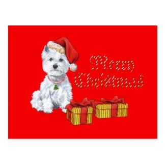 Regalos del navidad de Terrier blanco de montaña d Tarjetas Postales