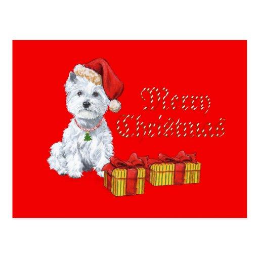 Regalos del navidad de Terrier blanco de montaña Postales