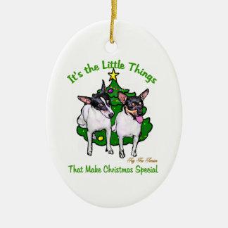 Regalos del navidad del fox terrier del juguete adorno navideño ovalado de cerámica