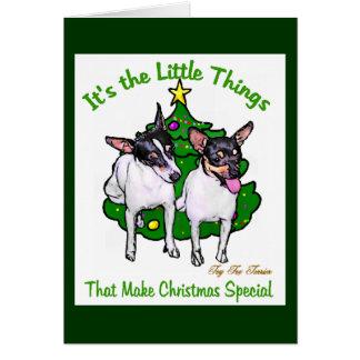 Regalos del navidad del fox terrier del juguete tarjeta de felicitación