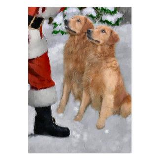 Regalos del navidad del golden retriever tarjetas de visita