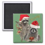 Regalos del navidad del mapache iman de nevera
