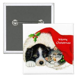 Regalos del navidad del perrito y del gatito pins