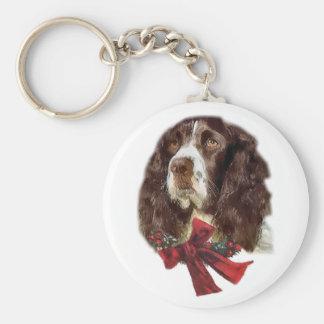 Regalos del navidad del perro de aguas de saltador llavero redondo tipo pin