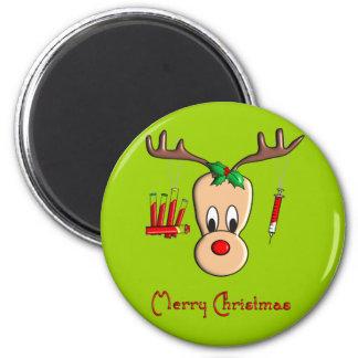 Regalos del navidad del reno de Phlebotomist Imán Redondo 5 Cm