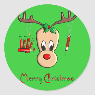 Regalos del navidad del reno de Phlebotomist Pegatina Redonda