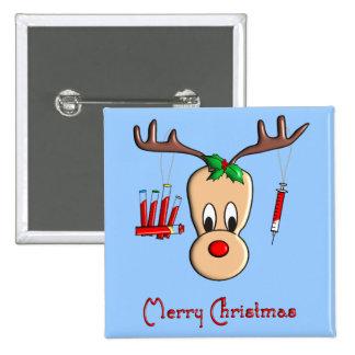 Regalos del navidad del reno de Phlebotomist Pin Cuadrada 5 Cm
