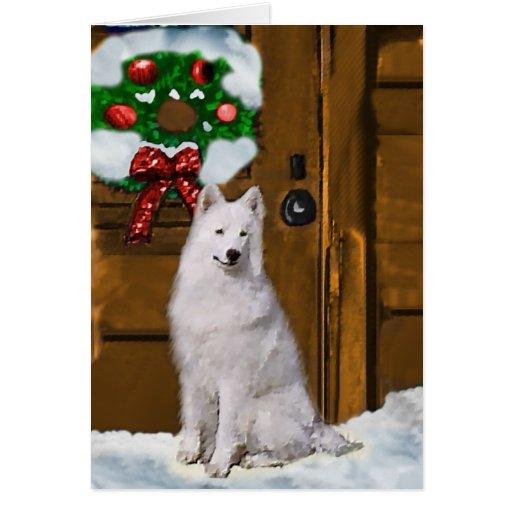 Regalos del navidad del samoyedo tarjeta de felicitación