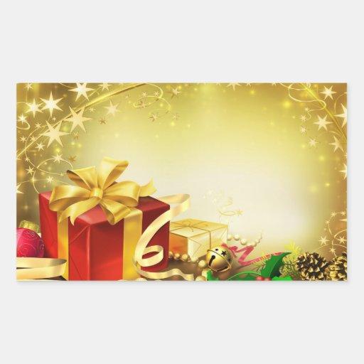 Regalos del navidad pegatina rectangular