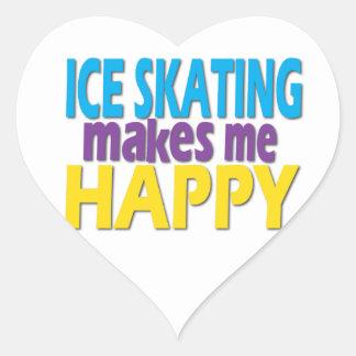 Regalos del patinaje de hielo para los chicas pegatina en forma de corazón