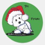 Regalos del perro de KiniArt Santa Westie Etiqueta Redonda