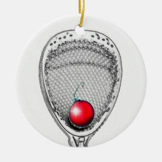 regalos del portero del lacrosse adorno navideño redondo de cerámica