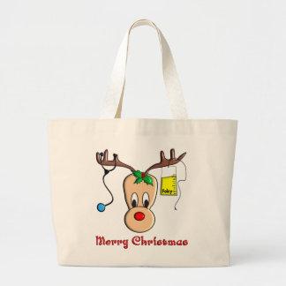Regalos del reno del navidad de la enfermera bolsas de mano