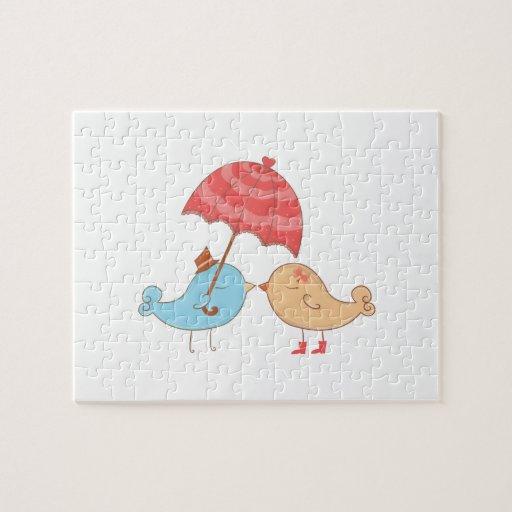 Regalos del romance de los pájaros del amor puzzles