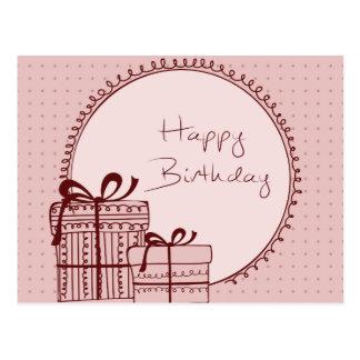 Regalos del rosa del feliz cumpleaños tarjeta postal