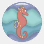 Regalos del Seahorse de la natación Pegatina Redonda