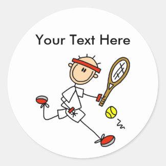 Regalos del tenis de los hombres personalizados pegatinas redondas
