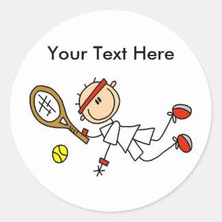 Regalos del tenis de los hombres personalizados pegatina redonda