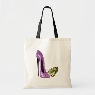 Regalos del zapato y de la mariposa del estilete d bolsa tela barata