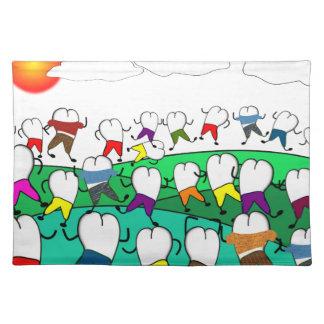 Regalos dentales caprichosos del arte del diente manteles individuales