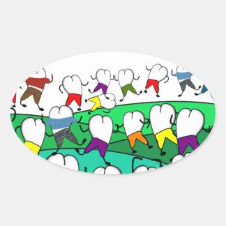 Regalos dentales caprichosos del arte del diente colcomanias ovaladas
