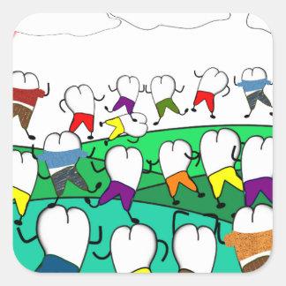 Regalos dentales caprichosos del arte del diente pegatina cuadradas