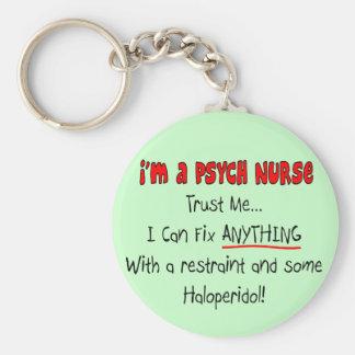 Regalos divertidos de la enfermera de Psych Llavero Redondo Tipo Pin