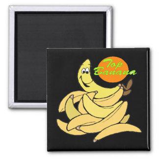 Regalos divertidos de las camisetas del plátano su imán cuadrado