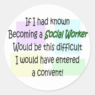Regalos divertidos del asistente social pegatina redonda