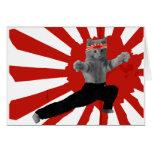 Regalos divertidos del gatito del karate tarjeton