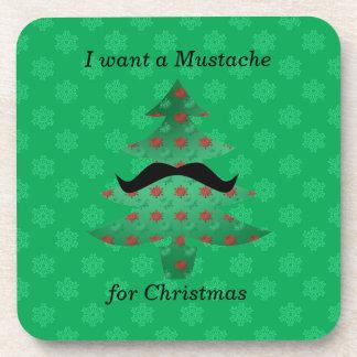 Regalos divertidos del navidad del bigote posavasos de bebida