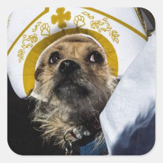 Regalos divertidos del traje del perro pegatina cuadrada