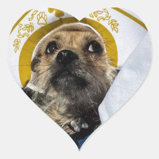 Regalos divertidos del traje del perro pegatina en forma de corazón