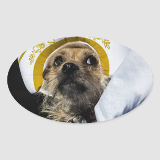 Regalos divertidos del traje del perro pegatina ovalada