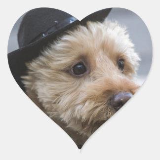 regalos divertidos del vaquero del perrito pegatina en forma de corazón