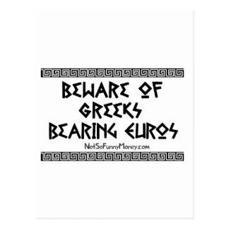 Regalos divertidos - Griegos que llevan euros Postal