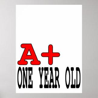 Regalos divertidos para 1 año: A+ Un año Poster