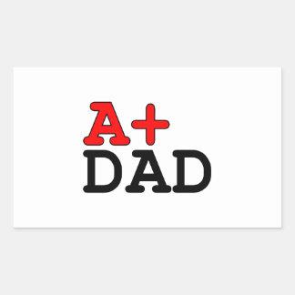 Regalos divertidos para los papás A+ Papá Rectangular Pegatina