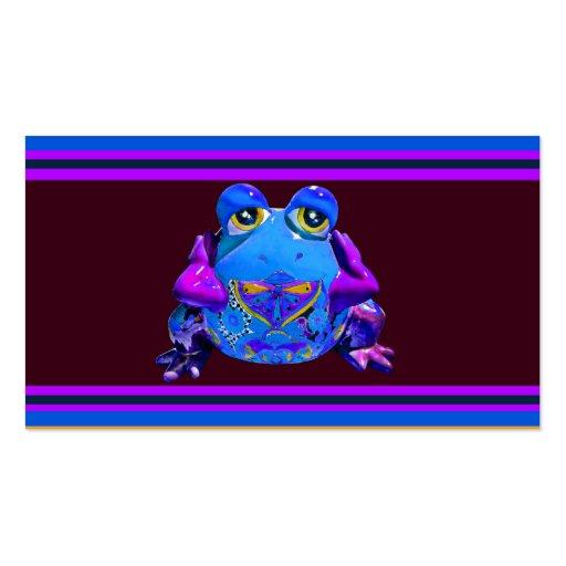 Regalos divertidos púrpuras azules de la rana colo tarjetas de visita