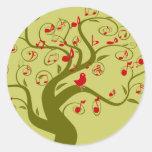 Regalos e invitaciones lindos del árbol del remoli etiqueta redonda