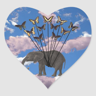 Regalos elefante y mariposas de Steampunk del Pegatina En Forma De Corazón