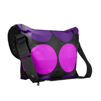 Regalos elegantes para ella Lunares púrpuras y ro Bolsa Messenger