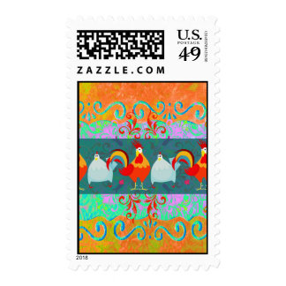 Regalos enrrollados del animal del campo de pollo timbres postales