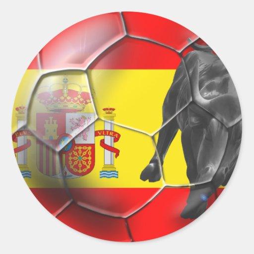 Regalos españoles del fútbol de España del balón Etiquetas Redondas