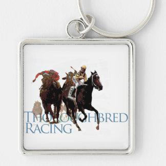 Regalos excelentes de la carrera de caballos llavero cuadrado plateado