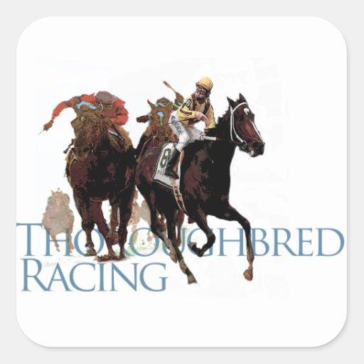 Regalos excelentes de la carrera de caballos colcomanias cuadradass
