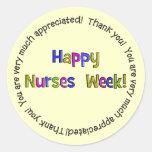 Regalos felices de la semana de las enfermeras pegatina redonda